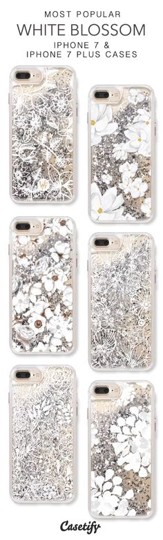Most Popular White Blossom iPhone 7 Cases & iPhone 7 Plus Cases. More protective liquid glitter floral iPhone case here > https://www.casetify.com/en_US/collections/iphone-7-glitter-cases#/?vc=rMVFy4WffZ #iphone6spluscase,