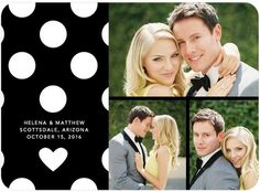 Devotedly Dotted Save the Date gives a pop of black and white with a splash of your personal vibrant photos.  Find more unique Save the Date cards, magnets, and postcards at www.WeddingPaperDivas.com.