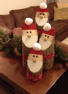 Easy made Santa out of wood stumps! Easy made Santa out of wood stumps! Wooden Christmas Decorations, Christmas Wood Crafts, Christmas Centerpieces, Outdoor Christmas, Diy Christmas Gifts, Christmas Projects, Kids Christmas, Holiday Crafts, Christmas Ornaments