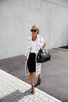 Statement coat, t-shirt, pencil skirt, lace up heels and Givenchy bag