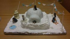 Mine and @amybos8 Winter wonderland penguins and igloo cake. Winners of West Berkshire mencap Christmas bake off.
