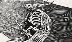 The Living Dead Bird (Ink Drawing) by Bacht ☠ – Bali, Indonesia on Behance | Drawing | Illustration | Print Design | Black | Dark |