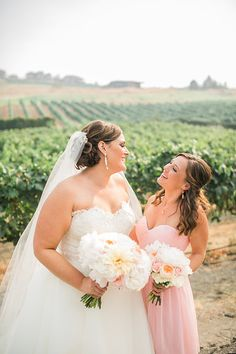 Kacey & Zach // Karma #VineyardWedding // #DonnaMorgan #bridesmaid #dresses in #blush #pink // Nicole Conner Photography