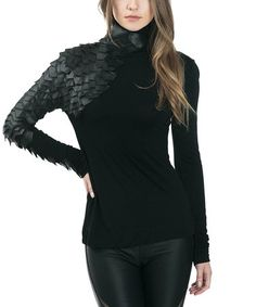 Another great find on #zulily! Black Faux Leather-Scale Turtleneck #zulilyfinds