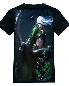 jogo online lol Katarina camisa preta de t para homens 2015 últimas League of Legends camisetas herói-