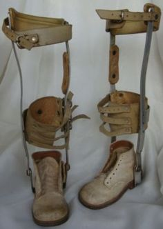 Vintage Child Leg Braces Medical Device Polio Medicine Metal Leather Baby Shoes | horrorSniped.com | Rare Horror Auctions and Collectibles