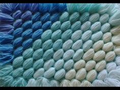 (16) How to make a pom pom blanket - Diagonal blanket - from your scrap balls of wool - YouTube