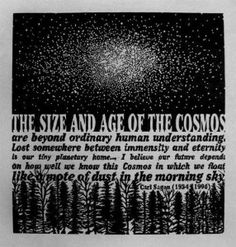 """The size and age of the Cosmos are beyond ordinary human understanding. Lost somewhere between immensity and eternity is our tiny planetary home…I believe our future depends on how well we know this Cosmos in which we float like a mote of dust in the morning sky."" ~ Carl Sagan"