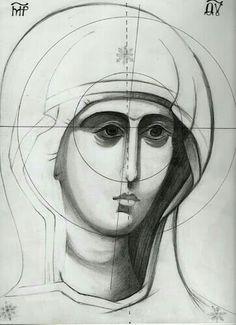 Religious Images, Religious Icons, Religious Art, Byzantine Icons, Byzantine Art, Sketch Icon, Sketches, Writing Icon, Paint Icon