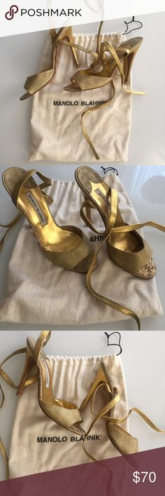 Manolo Blahnik Gold Ankle Wrap Sandal 💯 Authentic Manolo gold woven and leather stiletto heel sandals. In pre loved condition, but with plenty of life left in them — heels are intact and have brand new taps, soles show normal signs of wear. The woven vamp and jacquard detailing could use a little TLC as the gold has faded, which I confirmed with my awesome cobbler is an easy fix, you'd just have to pick the shade of gold! Priced low with this in consideration. Comes with dust bag. Manolo…