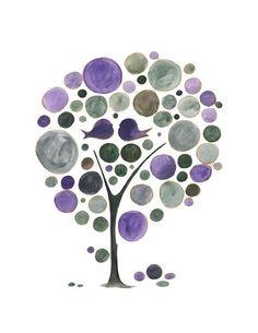 Purple October print - LOVE BIRDS V015 - archival art print
