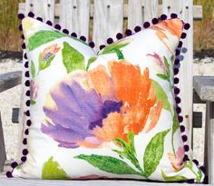 Floral Cotton  Pillow Cover in Multi Color with Deep Purple PomPom Trim