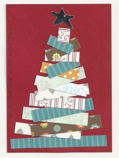 good idea for using up scraps Christmas Gift Box, Christmas Cards To Make, Christmas Wrapping, Xmas Cards, Rustic Christmas, Christmas Art, The Grinch, Christmas Decorations Diy For Kids, Autism Crafts
