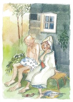 Postcrossing postcard from Finland Finnish Sauna, Digi Stamps, Love And Marriage, Metal Signs, Vintage Ads, Cute Art, Vignettes, Finland, Illustration Art