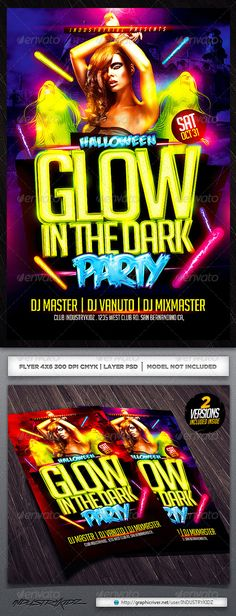 Glow in The Dark Halloween Flyer Template PSD #design Download: http://graphicriver.net/item/glow-in-the-dark-halloween-flyer-template-/5424317?ref=ksioks
