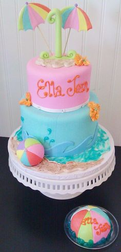 Fresno wedding cakes, cupcakes, cake pops, birthday cakes | Beach Party Cake | Frosted Cakery