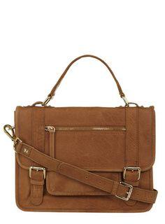 Tan suede mix satchel bag