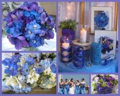 Purple and blue themed wedding bouquets