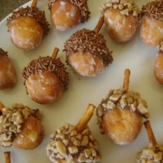 Acorns! Get glazed donut holes, dunk one end in Nutella or Chocolate Icing, roll that end in crushed Toffee Bits or Brown Sprinkly things, use 2/3 of a Pretzel stick for stem. Watch out for squirrels!!!