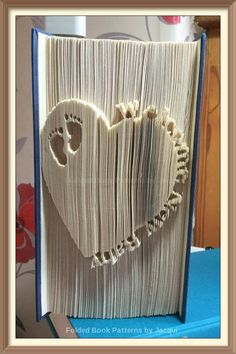 Heart with WELCOME NEW BABY and Baby Feet. Book Folding Pattern by JHBookFoldPatterns on Etsy