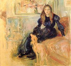 Berthe Morisot : Julie Manet et Laërte - 1893 - huile sur toile 73 x 80 cm - Musée Marmottan - Paris