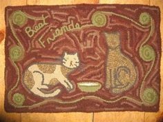 Fun old looking design, the size is Rug Hooking Designs, Rug Hooking Patterns, Cat Rug, Hook Punch, Hand Hooked Rugs, Best Friends, True Friends, Penny Rugs, Hand Tufted Rugs