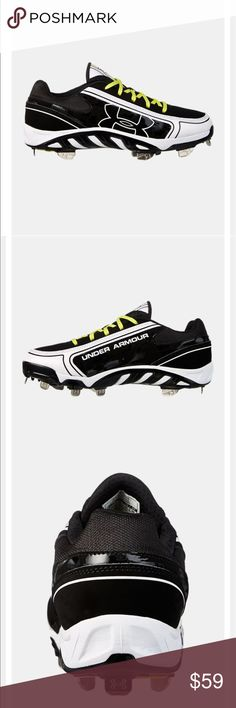 Spine™ Glyde Softball Cleats/Spikes.  3 Days only Blk and White with Yellow Shoe Strings. Extremely good quality and very supportive Under Armour Shoes Athletic Shoes