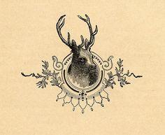 framed deer head