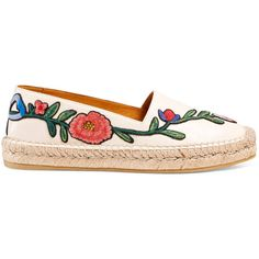 Gucci Embroidered Leather Espadrille ($595) ❤ liked on Polyvore featuring shoes, sandals, white, white sandals, leather sandals, gucci sandals, gucci shoes and floral sandals