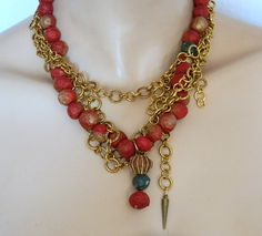 Hand made recycled red paper beads embellished with by Dabanga, $68.00 #ibhandmade