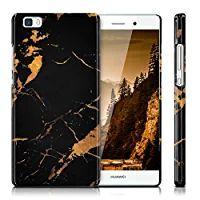 kwmobile Hardcase Hülle für Huawei P8 Lite mit Marmor Design - Hartschale Backcover Case Schutzhülle Cover in Schwarz Gold