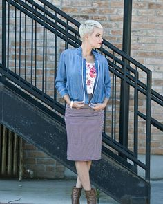 {We paired a chambray jacket with our floral top and striped pencil skirt...and couldn't adore it more.} • Seriously, darlings--this might be love. #primlane #ootd #howwewearit #wearit