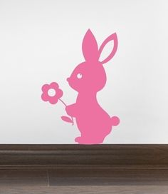 Bunny holding flower Vinyl Wall Decal -