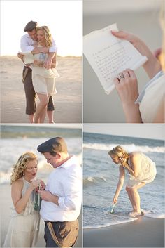 vows or message to the bride and groom in a bottle. Make sure to test before the wedding before sending out to sea