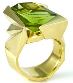 14.77 ct. peridot and 18 karat yellow gold ring - peridot cut by Bernd Munsteiner - ring designed by Ingerid Ekeland.