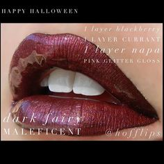 Halloween LipSense Combos - Dark Fairy Maleficent. 1 Layer Blackberry, 1 Layer Currant, 1 Layer Napa, topped with Pink Glitter Gloss. To order: www.hoffbeautyco.com