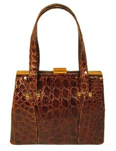 Chocolate Brown Alligator Purse by Bass Satchel Style