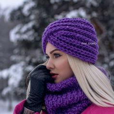 Laconic hats - a turban from a gentle knitted volume cloth. Suitable for any type of face. Adapted to a large number of styles in clothes. Crochet Turban, Knitted Headband, Crochet Baby, Knitted Hats, Knit Crochet, Stylish Hats, Headbands For Women, Knit Fashion, Crochet Accessories