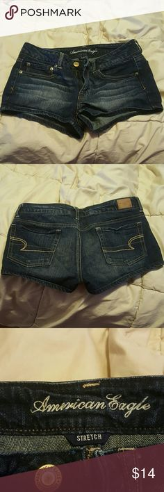 """Womens American Eagle size 8 shorts Dark wash Womens American Eagle """"stretch"""" shorts up for sale. GUC. They're really cute, but they just don't fit me anymore. Cleaning out my closet. From a smoke free home. If you have any additional questions or would like to see more photos, just ask! :) American Eagle Outfitters Jeans"""