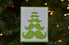 Mustache Christmas Tree Greeting CardSet of 10 in by WonkyWares, $20.00