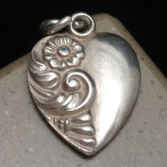 Puffy Heart Charm Vintage Sterling Silver Engraved Frank | eBay