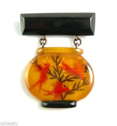 Reverse Carved Applejuice Bakelite Fish Bowl Brooch (adore!)