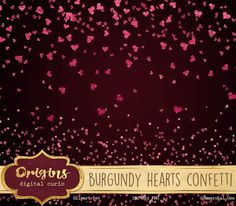 Burgundy Hearts Confetti Clipart by Origins Digital Curio on @creativemarket