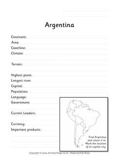 Argentina fact worksheet