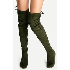 SheIn(sheinside) Olive Green Suede Lace Up Over The Knee Boots