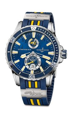 The limited edition Ulysse Nardin Artemis Racing watch features the Artemis team colors blue and yellow, which are the colors of the Swedish Royal Yacht Club; it is powered by automatic Caliber UN-26. Read more at: http://www.watchtime.com/wristwatch-industry-news/scene/ulysse-nardin-usa-cheers-on-the-americas-cup-winners-in-bermuda/ #watchtime #yachting_watches #watchaddict