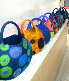 bags made at Atsuko Sasaki's class..mines the blue pink and green one near the end