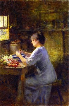 """Shelling Peas"" in 1912 by Frederick McCubbin. Oil on canvas."