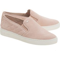 MICHAEL Michael KORS Keaton Quilted Rose // Suede leather slip ons (1 310 SEK) ❤ liked on Polyvore featuring shoes, zapatos, slip on shoes, suede slip on shoes, quilted shoes, pull on shoes and suede shoes