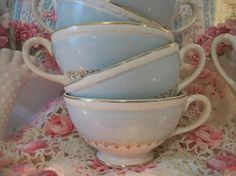 6 vintage homer laughlin chateau teacups soft blue by polkadotrose
